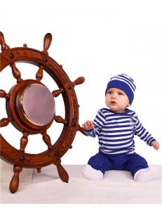 """Комплект для малышей в полоску (кофта, штаны и шапка) """"Юнга"""""""